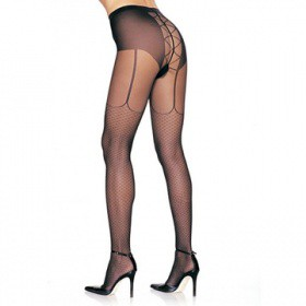 COLLANT HOSIERY GARTER LOOK BLACK