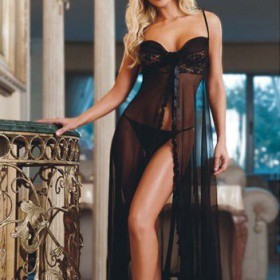 BABY DOLL BLACK LACE E MESH GOWN