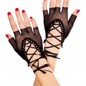 Accessori: Guanti corti in rete a mezze dita con nastrini.