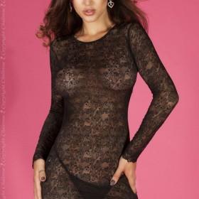 Lngerie & Abito : chemise in pizzo lavorato con maniche e schiena scoperta.