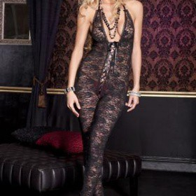 Music Legs: catsuit in pizzo con scollatura stringata