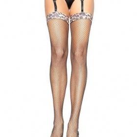 Leg Avenue calze a rete Sexy Spandex with animal print top Stockings
