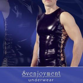 Canotta aderente nera satinata Evil Svenjoyment
