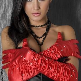 Accessori:  Guanti lunghi in raso rosso con strass.
