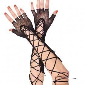 Accessori: guanti lunghi in rete a mezze dita con nastrini.
